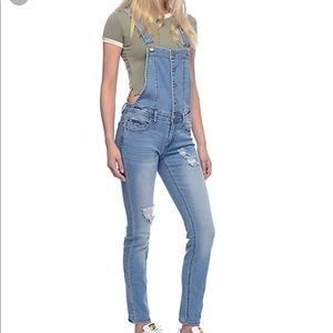Love Fire Skinny Jean Distressed Overalls Small